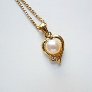 Helen cultured pearl heart pendant & chain